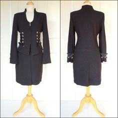 """ST. JOHN """"Black Label"""" Jacket/Skirt Suit. 22K gold electroplated rivets, ribbon & swarovski crystals. $680   SOLD"""