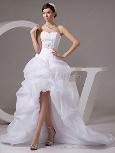 A-line Sweetheart Organza Satin Asymmetrical Pick-Ups Wedding Dresses