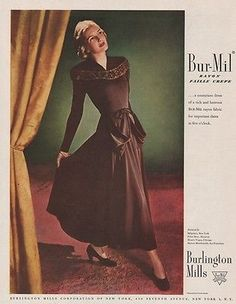 1947 #bur-mil rayon faille crepe dress #burlington mills 1940s women's #fashion a,  View more on the LINK: 	http://www.zeppy.io/product/gb/2/151843423429/