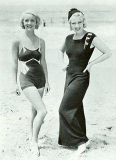 1930s on the beach - love their hair.
