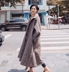 K-pop Fashion Knee Length Plaid Woolen Coat Pop Fashion, Coats For Women, Wool Blend, That Look, Normcore, Plaid, Kpop, Female, Cardigans