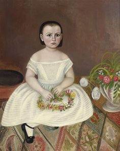 1850c ( attributed to ) Young Girl in a White Dress oil on canvas 94.6 x 74.3 cm