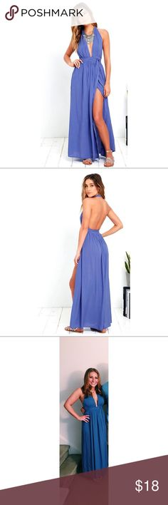 Periwinkle Blue Maxi Halter Lulus periwinkle blue maxi dress with halter. Lulu's Dresses Maxi