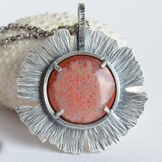 red horn coral gingko leaf sterling silver pendant necklace by lauren meredith Gem Necklaces, Diy Necklace, Pendant Necklace, Horn Coral, Gingko Leaf, Metal Clay, Wire Work, Horns, Jewlery