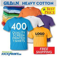 400 Custom Screen Printed Gildan Heavy Cotton Tshirt cheap bulk low price Tshirt