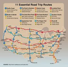 Essential Road Trip Routes in the US. Pack up the RV and hit the road! Two of my friends, recently retired, will be taking a few of these trips.