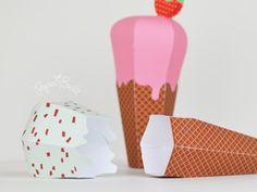 INSTANT DOWNLOAD  Printable Ice Cream Cone Favor by PaperBuiltShop, $6.00