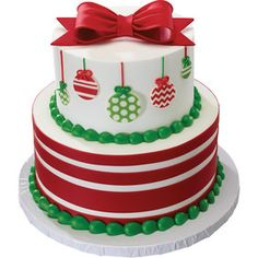 DecoPac - Gum Paste Bow and DecoShapes Ornaments Stacked Christmas Cake Christmas Themed Cake, Christmas Cake Designs, Christmas Deserts, Christmas Cake Decorations, Christmas Cupcakes, Holiday Cakes, Noel Christmas, Chrismas Cake, Fondant Cakes