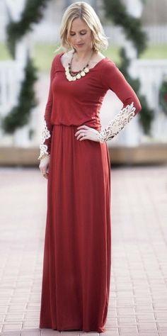 Modest lace long sleeve maxi dress | Mode-sty