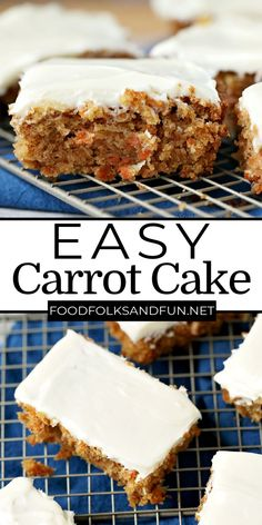This Easy Carrot Cake recipe is just the thing when you get a craving for moist carrot cake and need it fast! For more quick and easy recipes follow Food Folks and Fun!