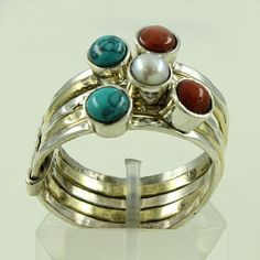 TRIPLET STONE ATTRACTIVE DESIGN 925 STERLING SILVER STACK RING #SilvexImagesIndia #Stackable