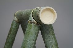Raw bamboo canes tight with chords compose the SOBA flat-pack furniture by Stefan Diez who teamed with Japanese craftsmen. Bamboo Building, Bamboo Stalks, Bamboo Structure, Bamboo Construction, Bamboo Art, Bamboo Ideas, Bamboo Fence, Bamboo Canes, Bamboo Architecture
