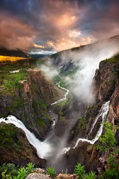 Vøringfossen Dawn by Stephen Emerson - Vøringfossen is the highest waterfall in Norway on the basis of total fall. It lies at the top of Måbødalen in the municipality of Eidfjord, in Hordaland, not far from Highway which connects Oslo with Bergen Places Around The World, Oh The Places You'll Go, Places To Travel, Places To Visit, Around The Worlds, Beautiful Waterfalls, Beautiful Landscapes, Oslo, Belle Photo