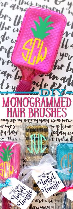 "This is such a cute Christmas gift idea for my tween daughter to give to her friends. Cut out vinyl monograms using a Silhouette machine and personalize these fun, colorful hair brushes. Includes free printable gift tags that say, ""Don't get your tinsel in a tangle."" Love it!"