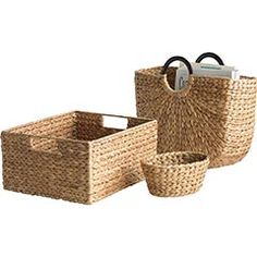 Totally Wishlisted!! Pier 1 Basic Water Hyacinth Baskets...would love to have several of the handled rectangular ones and 2 of the u shaped ones.. so seaside