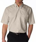 UltraClub® Men's Tall Classic Wrinkle-Free Short-Sleeve Oxford