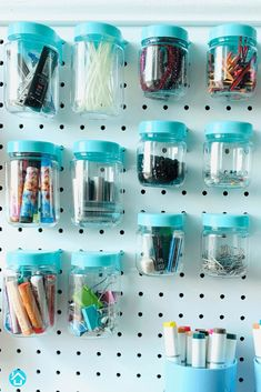 Tall vs Short Blue Pegboard Jars You have even more pegboard storage options with our Tall Pegboard Jars. Fill them up with your favorite craft, sewing, or jewellery accessories. Pegboard Craft Room, Pegboard Organization, Small Space Organization, Craft Rooms, Organization Ideas, Cricut Blades, Art Supplies Storage, Color Splash, Jars