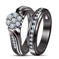 Lab Created D/VVS1 Diamond In Flower Shape Women's Engagement Bridal Ring Set #bacio2jewel