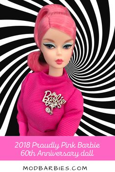 Designed by Robert Best, Proudly Pink Barbie celebrates Barbie's 60th anniversary. She is part of the Barbie Fashion Doll Collection and wears her signature pink from head to toe! Her beautiful ensemble features a hot pink faille top, logo print skirt and pale pink logo print purse . Barbie's hair is bubblegum pink and styled in a chic up-do. She has a posable Silkstone® body and gorgeous vintage face sculpt that collectors love. #vintagebarbie #modbarbie #dollcollecting #proudlypink… Pink Barbie, Barbie Hair, Vintage Barbie, Barbie Dolls, Pale Pink, Hot Pink, 60th Anniversary, Bubblegum Pink, Print Skirt
