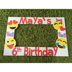 Emoji birthday banner Each is approximately 9 inches. Name can be added but may require an additional fee.