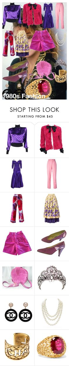 1980s Fashion by oroartye-1 on Polyvore featuring Arnold Scaasi, Emanuel Ungaro, Bill Blass, Yves Saint Laurent, ESCADA, Bruno Magli, Fred Leighton and Chanel