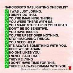 Narcissist Gaslighting Checklist #narcissist #emotionalabuse #abuse #gaslighting
