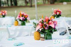 Tropical Table Decor Lgbt Wedding, Wedding Events, Hawaii Wedding, Destination Wedding, Tropical Centerpieces, Turtle Bay Resort, Outdoor Venues, Hawaiian Islands, Types Of Flowers