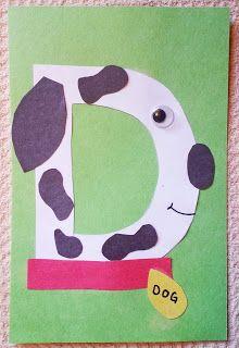 Uppercase D is for dog craft - letter crafts preschool alphabet Preschool Letter Crafts, Alphabet Letter Crafts, Abc Crafts, Daycare Crafts, Alphabet Activities, Kindergarten Activities, Toddler Crafts, Preschool Activities, Morning Activities