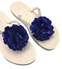 Bridesmaid Flip Flops Royal Blue Flip Flops by APricelessPrincess