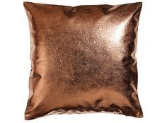 metallic and linen cushion cover - copper Copper Cushions, Metallic Cushions, Eclectic Decorative Pillows, Copper Decor, Leather Pillow, Leather Cushions, H&m Home, Fashion Room, Interior Design Inspiration