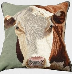 Hereford Cow Needlepoint Pillow from Indeed Decor will be right Home on Your Range!