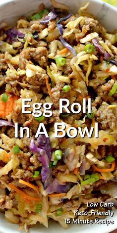 This Tasty Low Carb Egg Roll In A Bowl makes a quick and delicious lunch or dinner the whole family will love! This Tasty Low Carb Egg Roll In A Bowl makes a quick and delicious lunch or dinner the whole family will love! Egg Roll Recipes, Diet Recipes, Cooking Recipes, Healthy Recipes, Healthy Chinese Recipes, Recipies, Delicious Dinner Recipes, Yummy Recipes, Asian Cooking