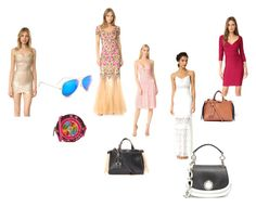 """""""Get's ready"""" by ramakumari on Polyvore featuring Notte by Marchesa, Hervé Léger, self-portrait, Olympia Le-Tan, Paula Cademartori, Ray-Ban, Michael Kors and vintage"""
