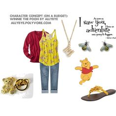 Character Concept (On a Budget): Winnie the Pooh, created by allybye on Polyvore