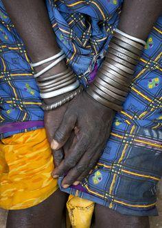 Africa | Bondi woman's hands.  Omo Valley, Ethiopia