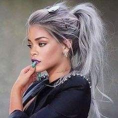 Although this pic of @badgalriri is photoshopped how amazing does this shade look?!  #greyhairdontcare #rihanna #hairgoals #hairenvy #WCW #BLOOUT #blowdrybar #twitter #fb