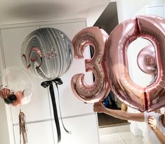 Rose gold balloons 30th balloons marble balloons ribbon personalised balloons
