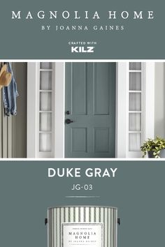 magnolia homes joanna gaines For a fun accent color that still fits in with your design aesthetic, turn to Duke Gray, from the Magnolia Home by Joanna Gaines paint collectio Exterior Gray Paint, Exterior Paint Colors For House, Paint Colors For Home, Painted Exterior Doors, Exterior Paint Schemes, Exterior Design, Magnolia Paint Colors, Magnolia Homes Paint, Front Door Paint Colors