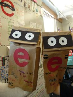 Sneaky e puppets or bossy e or magic e Kindergarten Language Arts, Teaching Language Arts, Classroom Language, Kindergarten Literacy, Early Literacy, First Grade Phonics, First Grade Reading, First Grade Classroom, Classroom Fun