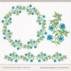 watercolor floral wreath, watercolor clip art, hand painted clipart, floral border di DottyCreative su Etsy