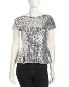 Sequin Peplum Top, Silver by Casual Couture at Last Call by Neiman Marcus. 118.00 now 34.00 yum