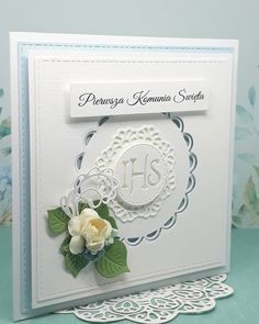 Kolejna karteczka komunijna  #scrapbooking #cardmaking #holycommunion #holycommunioncard #handmadecards #handmade #kartkanakomunie… First Communion Cards, Happy Birthday Cards, Cute Cards, Hobbies And Crafts, Christening, Wedding Anniversary, Wedding Cards, Card Making, Scrapbook