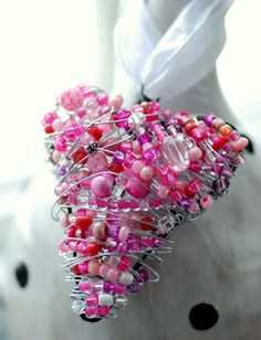 Pink Wire Wrapped Heart,  Beaded Ornament, Lightcatcher or Decoration  via Etsy.