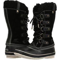 SOREL Joan Of Arctic Shearling (Black) Women's Cold Weather Boots ($155) ❤ liked on Polyvore featuring shoes, boots, mid-calf boots, mid calf boots, long boots, black mid calf boots, black shoes and waterproof shearling boots
