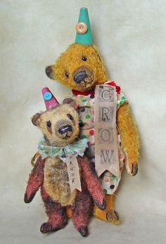 "10"" brown panda and 15"" golden mohair bear."