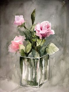 Pink Roses Painting, Paintings Of Flowers, Art Roses, Pink Rose Watercolor, Cube Watercolor, Beauty Watercolor, Watercolor Etsy, Watercolor Herbs, ...