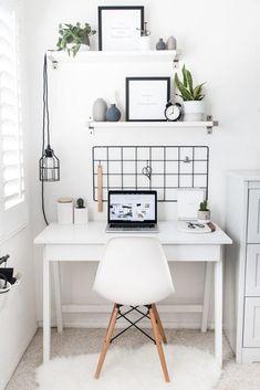 Best Desk Decor Design Ideas & Fun Accessoris DIYs for your desk - Na foto parece bonito, mas na verdade é tudo branco e particularmente eu sentiria fanta de uma cor - Modern Bedroom Design, Home Office Design, Home Office Decor, Home Design, Office Ideas, Interior Design, Workplace Design, Office Designs, Design Desk