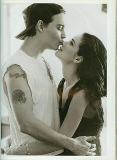 "Johnny Depp and Winona Ryder photographed by Herb Ritts for Vogue UK, 1990.    ""When I met Johnny, I was pure virgin. He changed that. He was my first everything. My first REAL kiss. My first REAL boyfriend. My first fiancee. The first guy I had sex with. So he'll always be in my heart. Forever. Kind of funny that word."""
