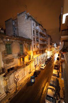 Night Street in Athens, Greece