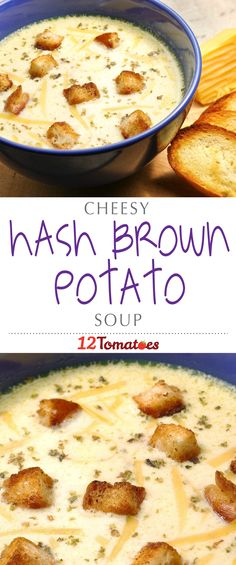 Cheesy Hashbrown Potato Soup   Using store-bought hash browns (or homemade, if you're really feeling ambitious) and lots and lots of cheese, we end up with a thick soup that warms us up and gets us excited for cold weather.